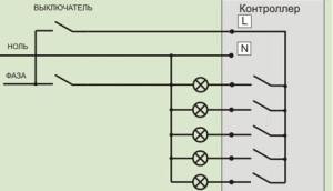 Схема подключения светильника через контроллер