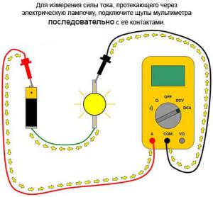 измерение силы тока батарейки