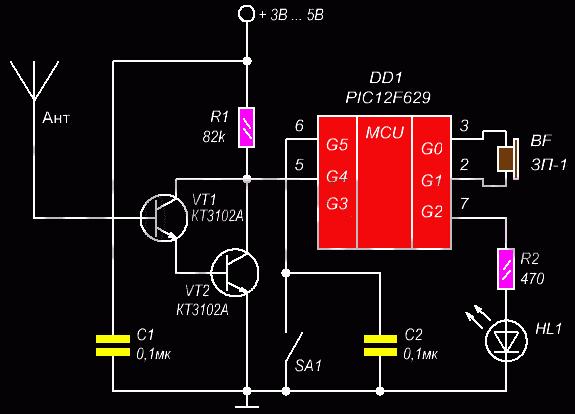 Схема искателя проводки на микроконтроллере