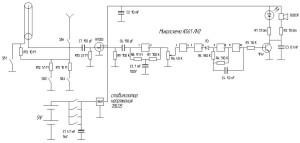 Схема самодельного детектора Дятел