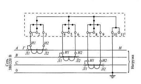 Схема с объединенными цепями напряжения и тока