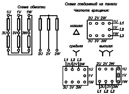 Схема подключения двухскоростной асинхронный двигатель 220 вольт