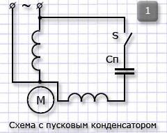 Схема с пусковым конденсатором