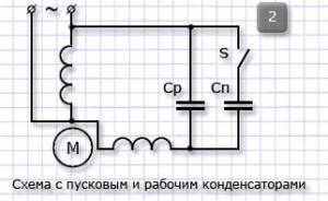 Схема с пусковым и рабочим конденсатором