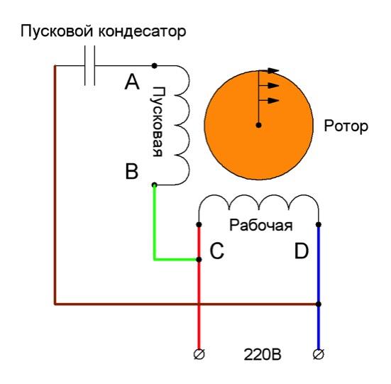 Схема подключения однофазного двигателя. Однофазный двигатель 220в