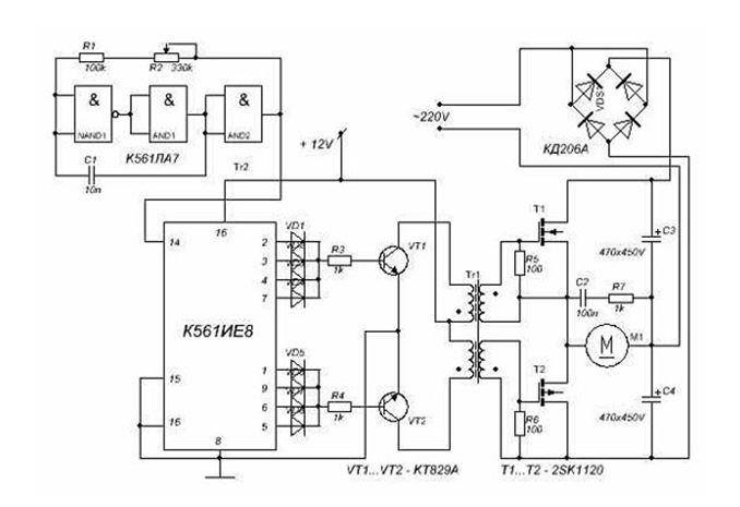 Схема регулятора скорости вращения электродвигателя
