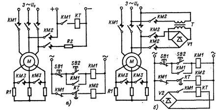 Схема динамического торможения электродвигателя