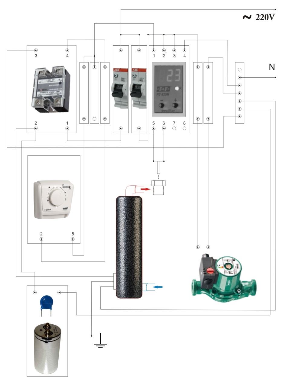 Схема однофазного индукционного котла